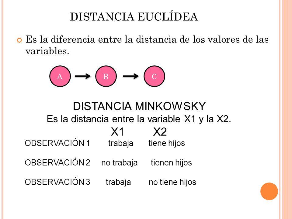 DISTANCIA EUCLÍDEA Es la diferencia entre la distancia de los valores de las variables. ABC DISTANCIA MINKOWSKY Es la distancia entre la variable X1 y