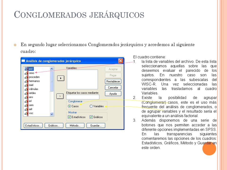 C ONGLOMERADOS JERÁRQUICOS En segundo lugar seleccionamos Conglomerados jerárquicos y accedemos al siguiente cuadro: El cuadro contiene: 1.la lista de