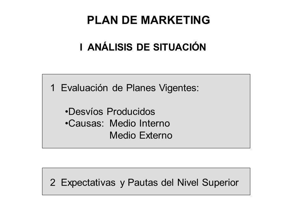 PLAN DE MARKETING I ANÁLISIS DE SITUACIÓN 1 Evaluación de Planes Vigentes: Desvíos Producidos Causas:Medio Interno Medio Externo 2 Expectativas y Paut