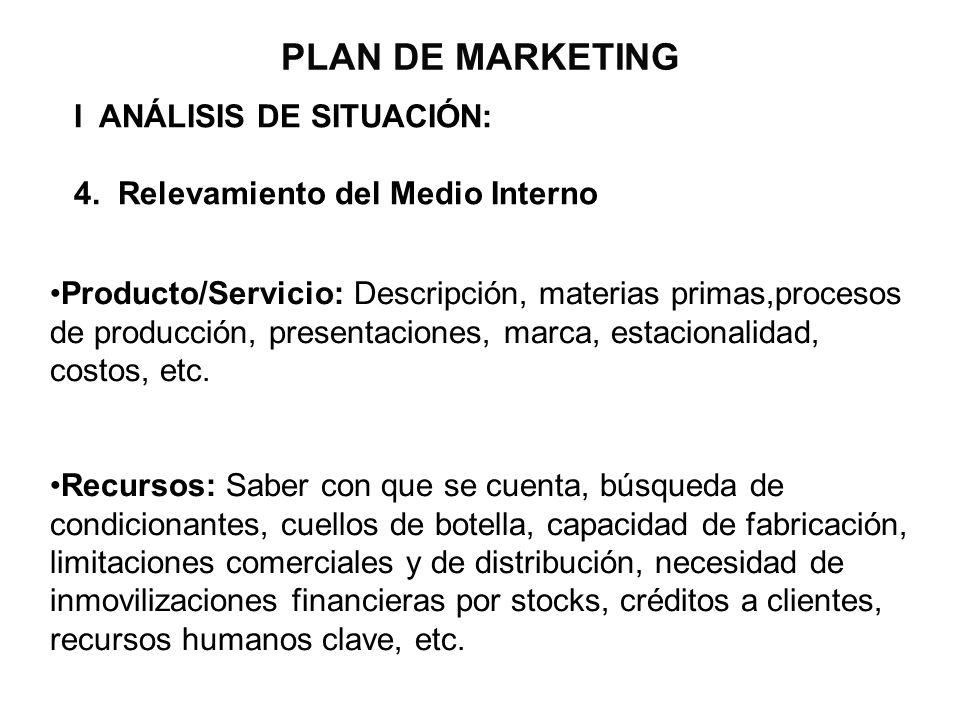 PLAN DE MARKETING I ANÁLISIS DE SITUACIÓN: 4. Relevamiento del Medio Interno Producto/Servicio: Descripción, materias primas,procesos de producción, p