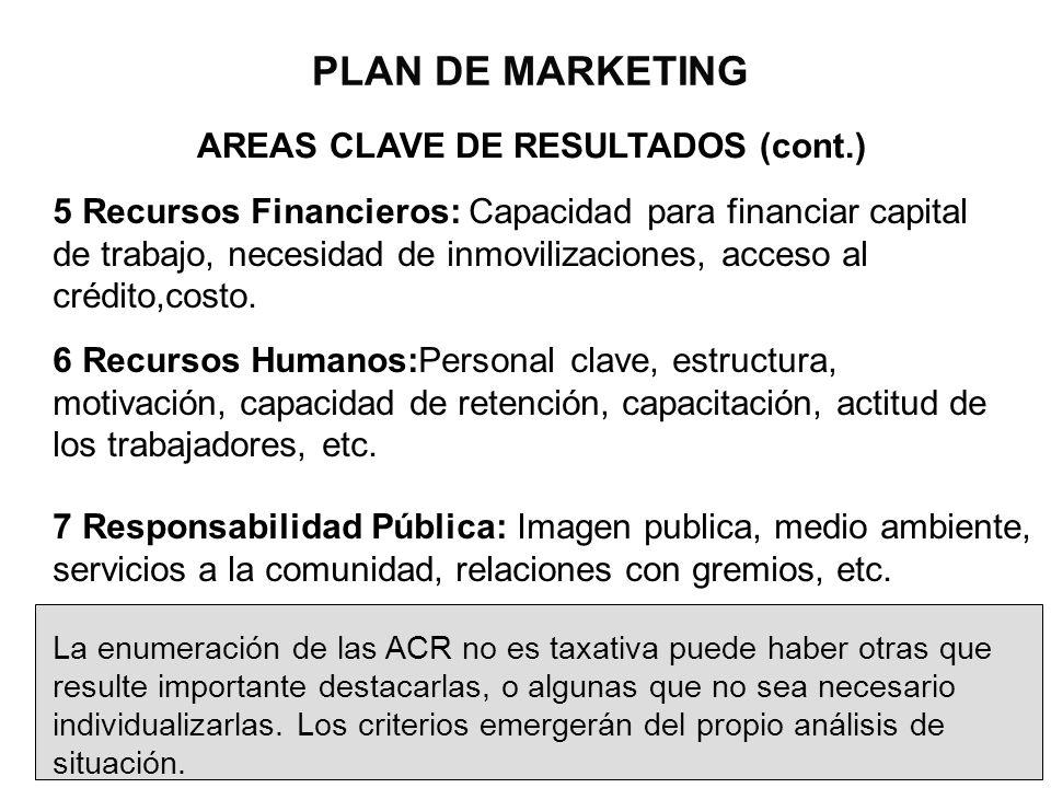 PLAN DE MARKETING AREAS CLAVE DE RESULTADOS (cont.) 5 Recursos Financieros: Capacidad para financiar capital de trabajo, necesidad de inmovilizaciones