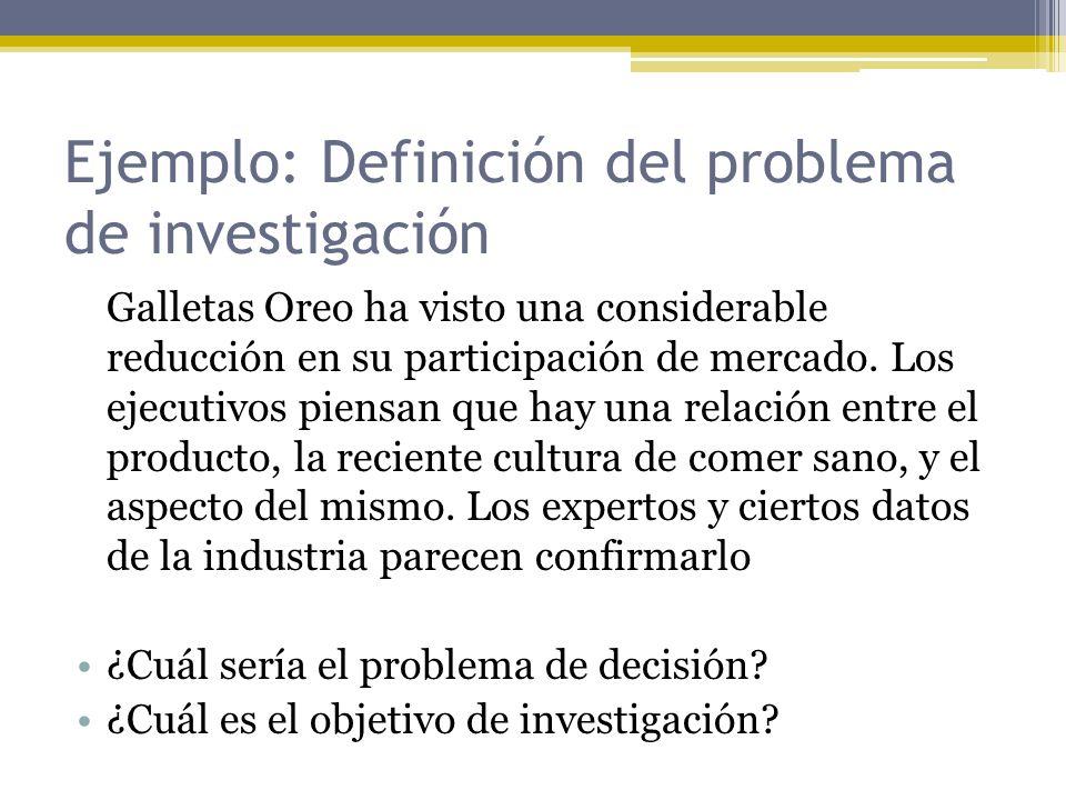 Ejemplo: Definición del problema de investigación Galletas Oreo ha visto una considerable reducción en su participación de mercado. Los ejecutivos pie