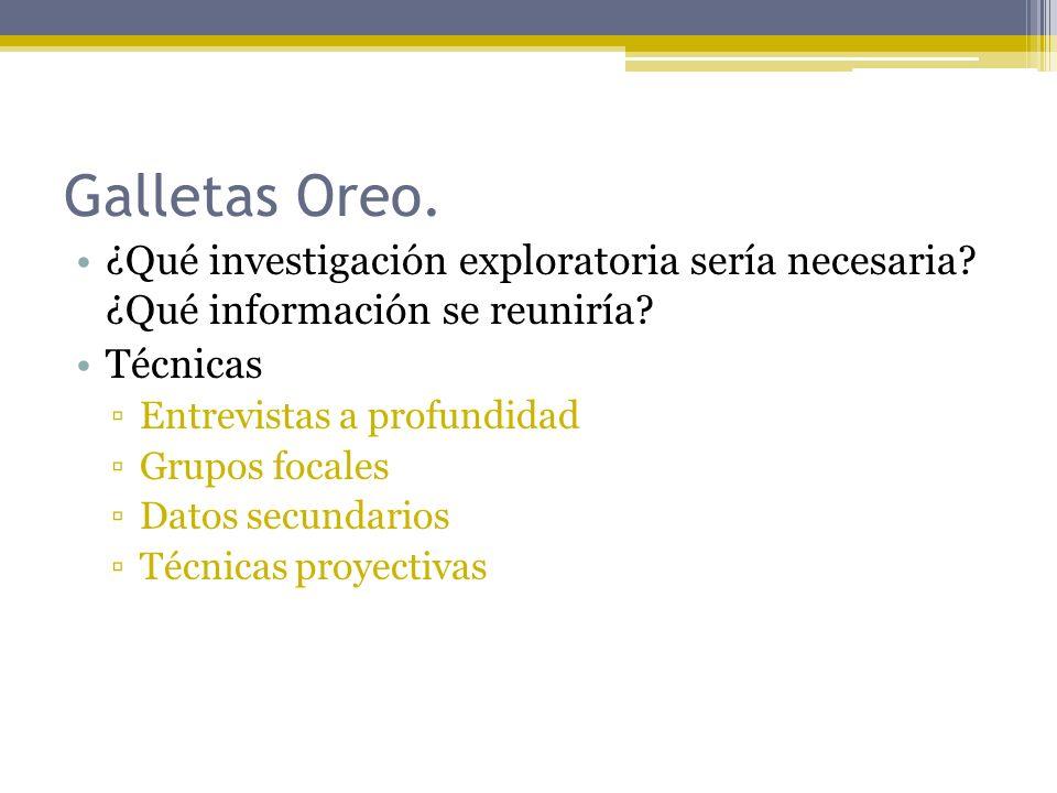 Galletas Oreo. ¿Qué investigación exploratoria sería necesaria? ¿Qué información se reuniría? Técnicas Entrevistas a profundidad Grupos focales Datos