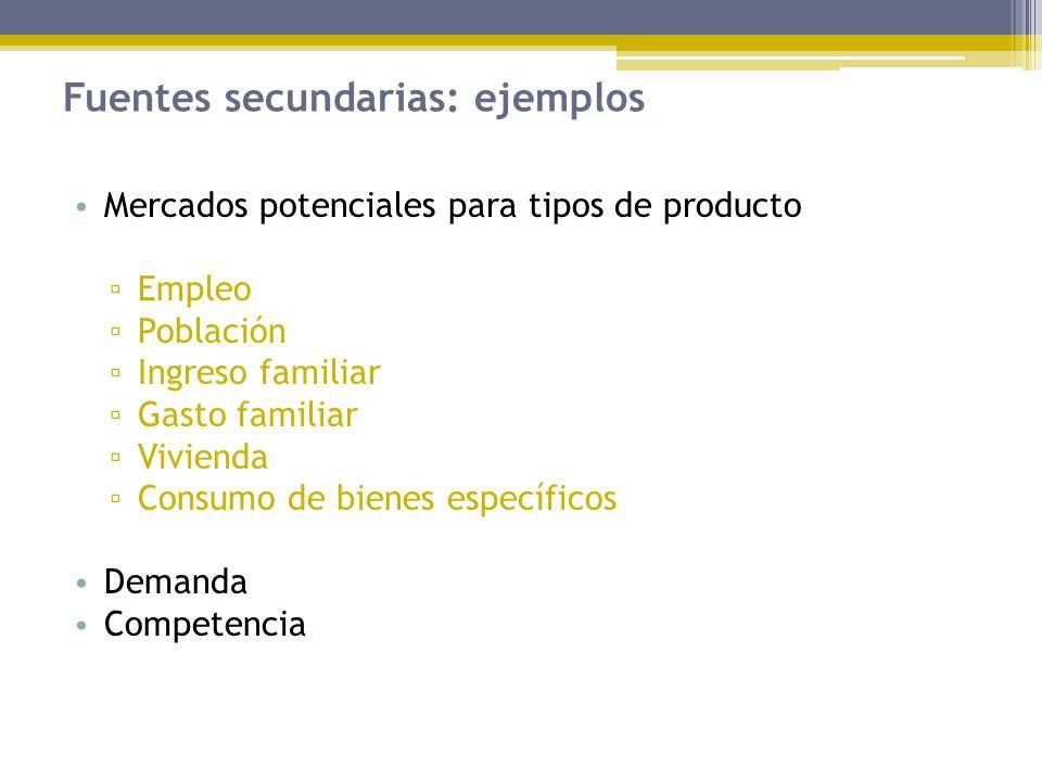 Fuentes secundarias: ejemplos Mercados potenciales para tipos de producto Empleo Población Ingreso familiar Gasto familiar Vivienda Consumo de bienes