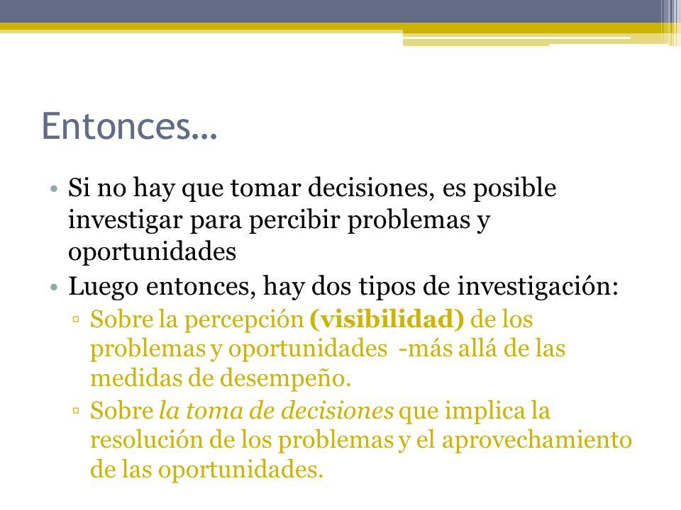 Entonces… Si no hay que tomar decisiones, es posible investigar para percibir problemas y oportunidades Luego entonces, hay dos tipos de investigación