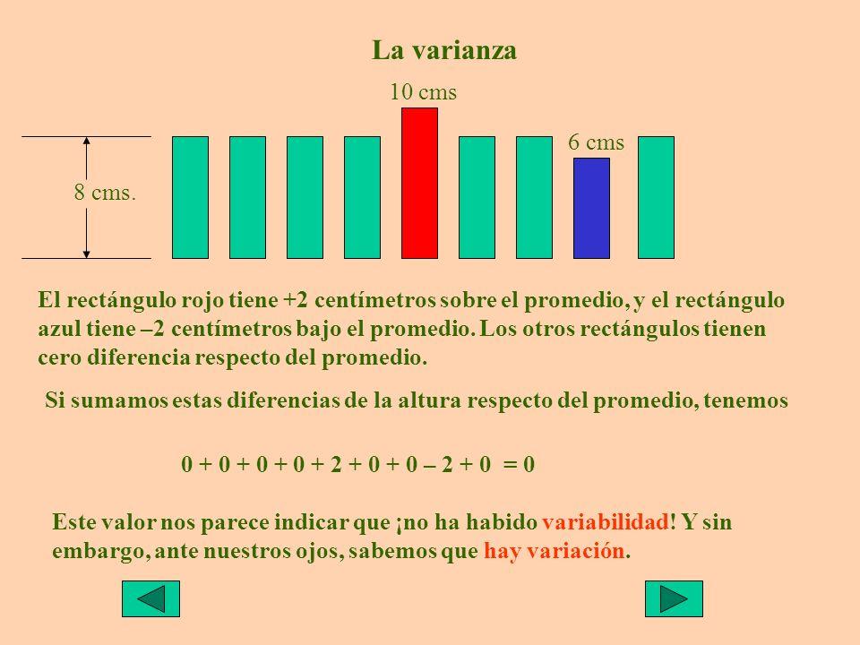 El rectángulo rojo tiene +2 centímetros sobre el promedio, y el rectángulo azul tiene –2 centímetros bajo el promedio.