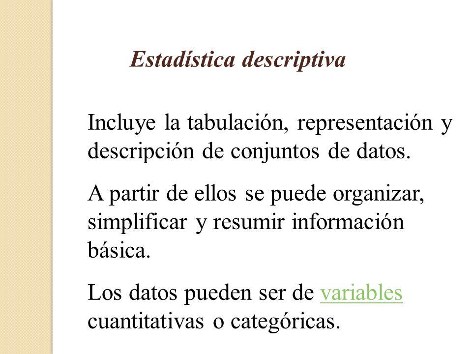 Estadística descriptiva Incluye la tabulación, representación y descripción de conjuntos de datos.