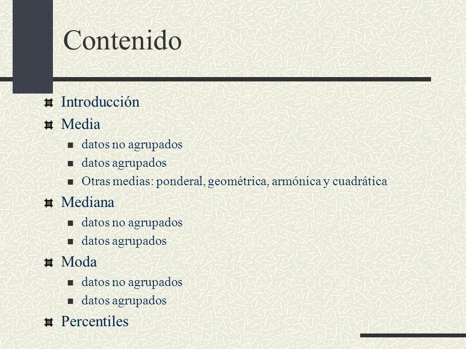 Contenido Introducción Media datos no agrupados datos agrupados Otras medias: ponderal, geométrica, armónica y cuadrática Mediana datos no agrupados d