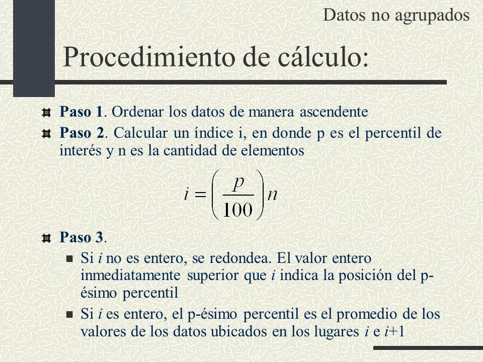 Procedimiento de cálculo: Paso 1. Ordenar los datos de manera ascendente Paso 2. Calcular un índice i, en donde p es el percentil de interés y n es la