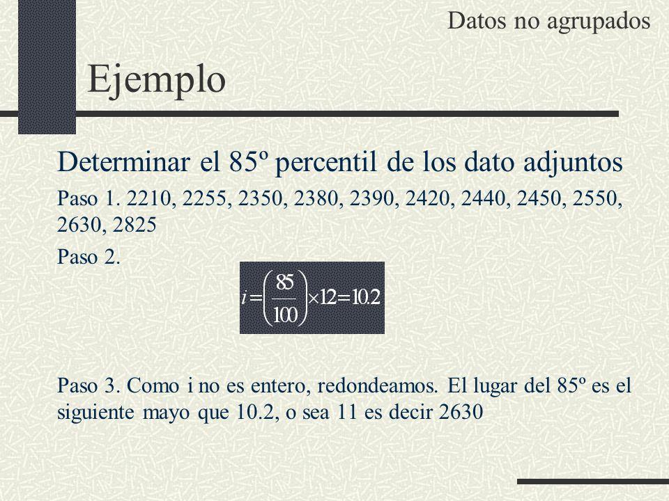 Ejemplo Determinar el 85º percentil de los dato adjuntos Paso 1. 2210, 2255, 2350, 2380, 2390, 2420, 2440, 2450, 2550, 2630, 2825 Paso 2. Paso 3. Como