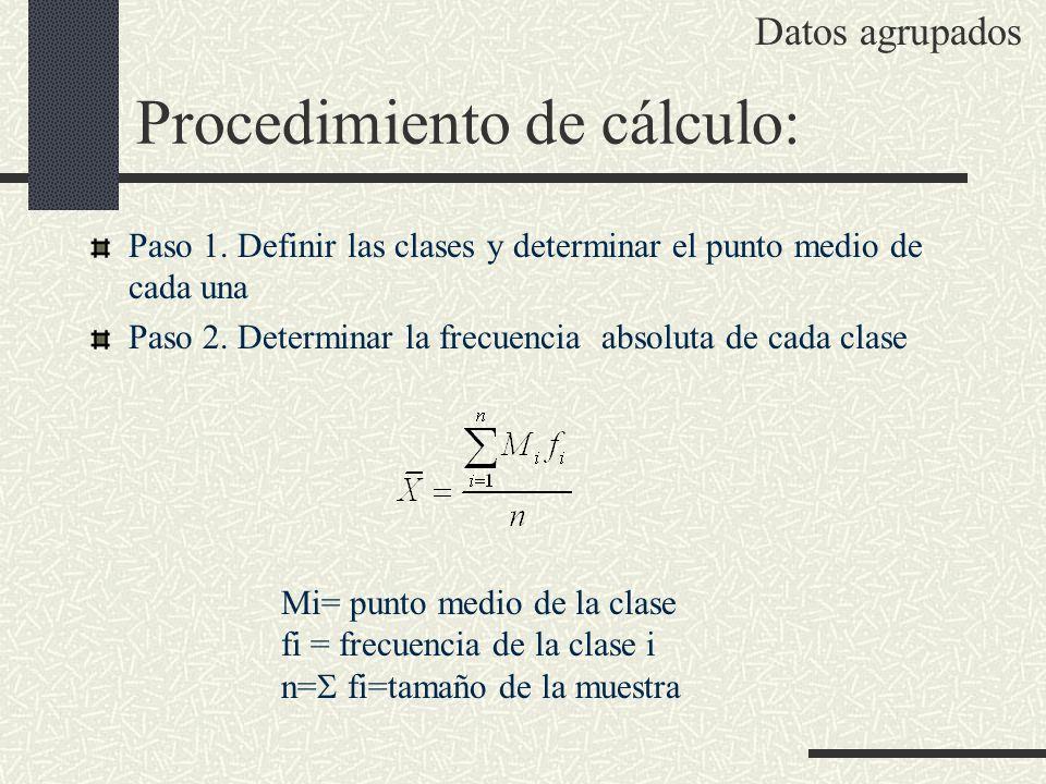 Paso 1. Definir las clases y determinar el punto medio de cada una Paso 2. Determinar la frecuencia absoluta de cada clase Mi= punto medio de la clase