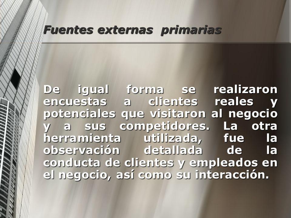 Fuentes externas primarias De igual forma se realizaron encuestas a clientes reales y potenciales que visitaron al negocio y a sus competidores. La ot