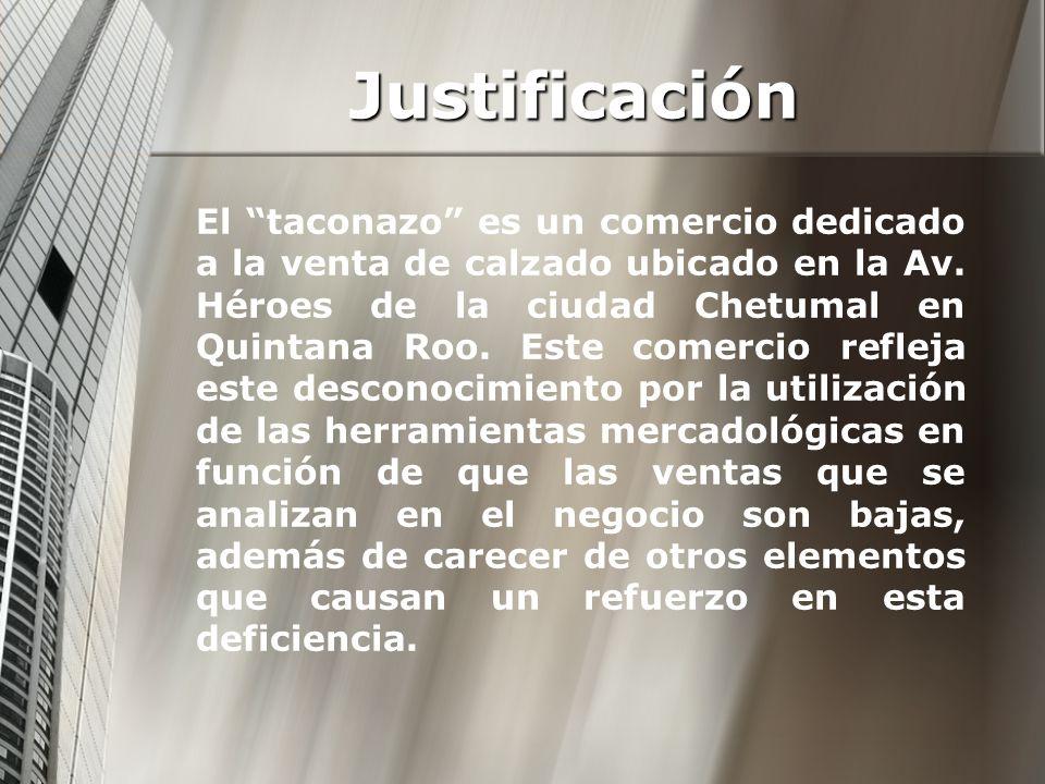 Justificación El taconazo es un comercio dedicado a la venta de calzado ubicado en la Av. Héroes de la ciudad Chetumal en Quintana Roo. Este comercio