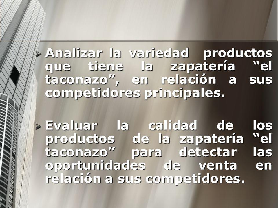 Analizar la variedad productos que tiene la zapatería el taconazo, en relación a sus competidores principales. Analizar la variedad productos que tien