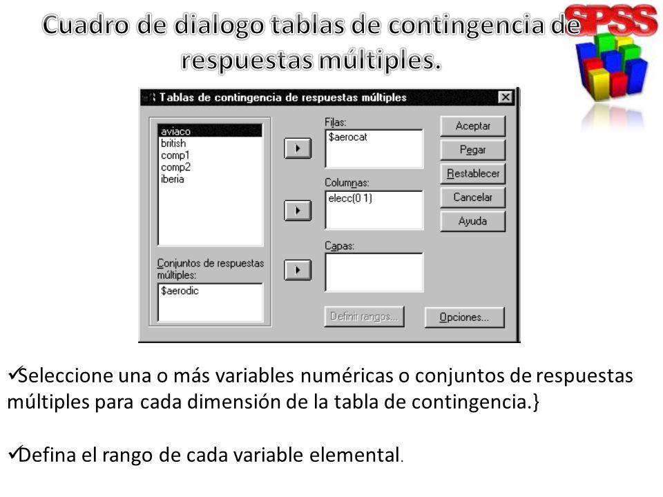 Seleccione una o más variables numéricas o conjuntos de respuestas múltiples para cada dimensión de la tabla de contingencia.} Defina el rango de cada