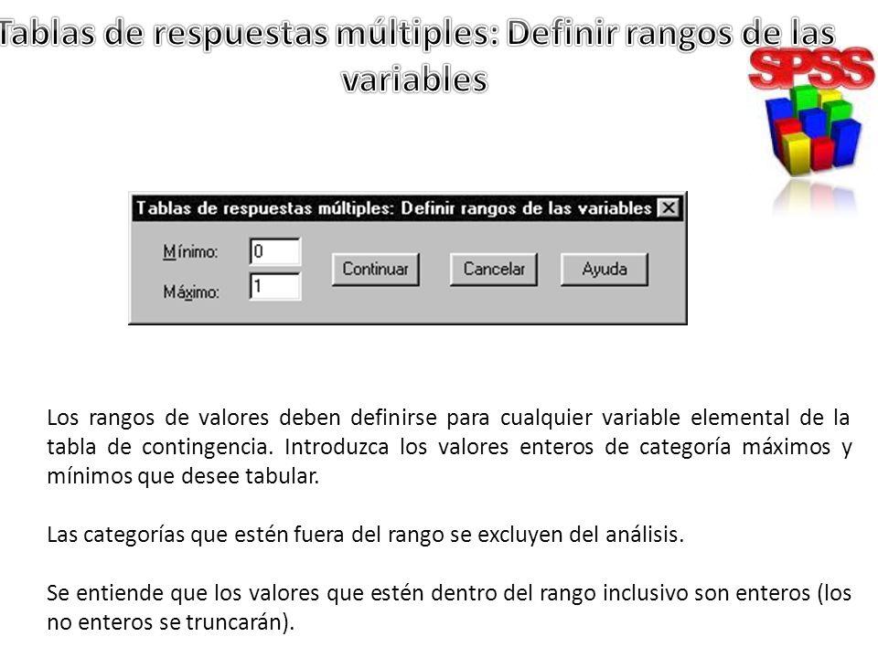 Los rangos de valores deben definirse para cualquier variable elemental de la tabla de contingencia. Introduzca los valores enteros de categoría máxim