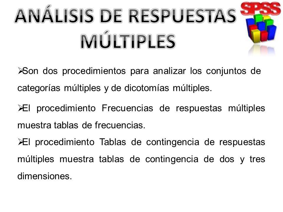 Son dos procedimientos para analizar los conjuntos de categorías múltiples y de dicotomías múltiples. El procedimiento Frecuencias de respuestas múlti