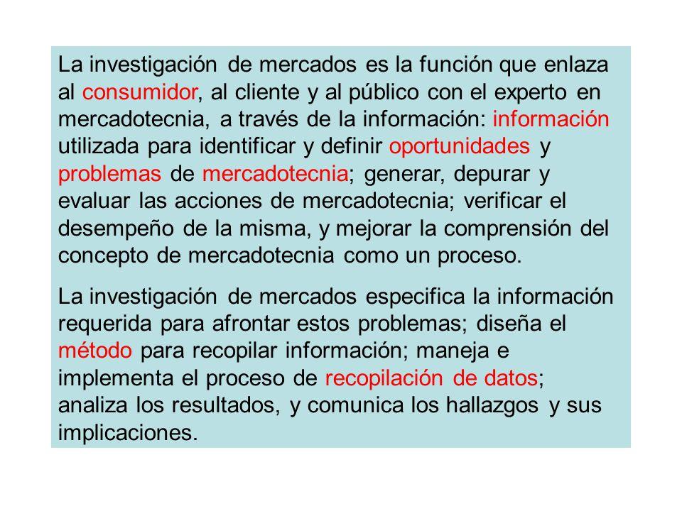 La investigación de mercados es la función que enlaza al consumidor, al cliente y al público con el experto en mercadotecnia, a través de la informaci