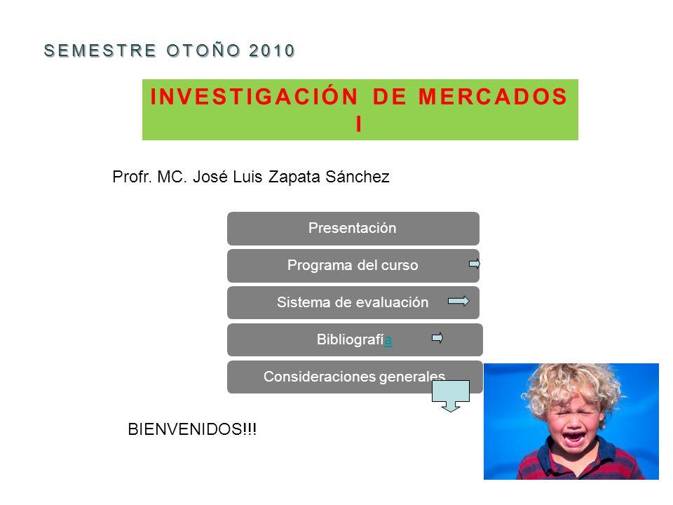 INVESTIGACIÓN DE MERCADOS I SEMESTRE OTOÑO 2010 PresentaciónPrograma del cursoSistema de evaluaciónBibliografíaaConsideraciones generales Profr.