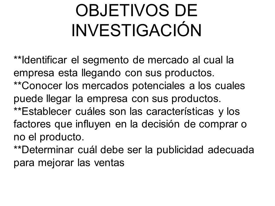 OBJETIVOS DE INVESTIGACIÓN **Identificar el segmento de mercado al cual la empresa esta llegando con sus productos.
