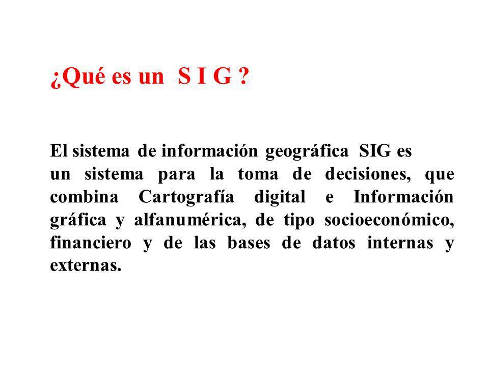 ¿Qué es un S I G ? El sistema de información geográfica SIG es un sistema para la toma de decisiones, que combina Cartografía digital e Información gr