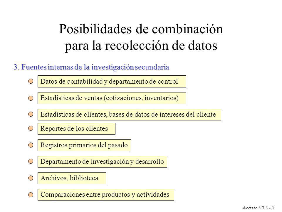 3. Fuentes internas de la investigación secundaria Datos de contabilidad y departamento de control Estadísticas de ventas (cotizaciones, inventarios)