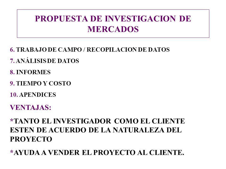 PROPUESTA DE INVESTIGACION DE MERCADOS 6. TRABAJO DE CAMPO / RECOPILACION DE DATOS 7. ANÁLISIS DE DATOS 8. INFORMES 9. TIEMPO Y COSTO 10. APENDICES VE