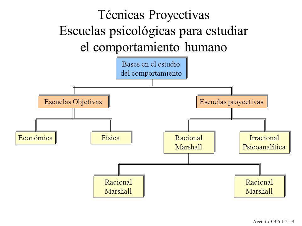 Acetato 3.3.6.1.2 - 3 Física Económica Racional Marshall Irracional Psicoanalítica Escuelas proyectivas Escuelas Objetivas Bases en el estudio del com