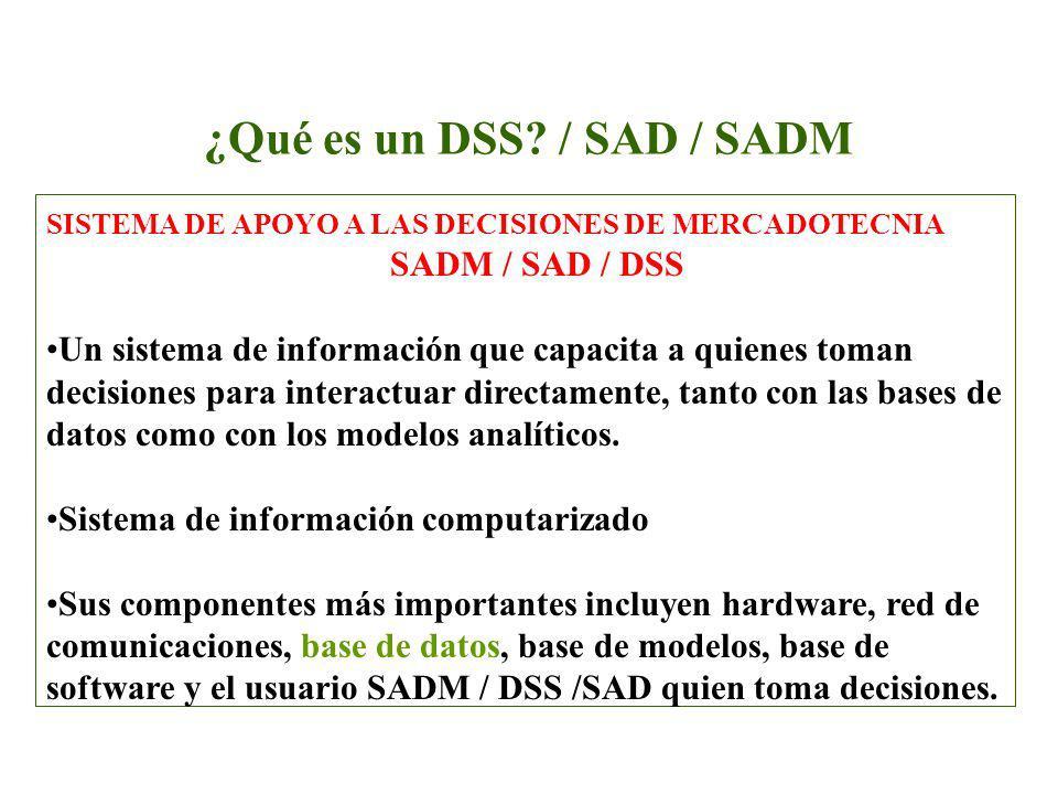 ¿Qué es un DSS? / SAD / SADM SISTEMA DE APOYO A LAS DECISIONES DE MERCADOTECNIA SADM / SAD / DSS Un sistema de información que capacita a quienes toma