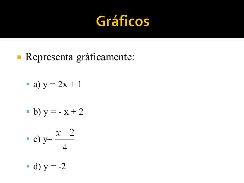 Representa gráficamente: a) y = 2x + 1 b) y = - x + 2 c) y= d) y = -2
