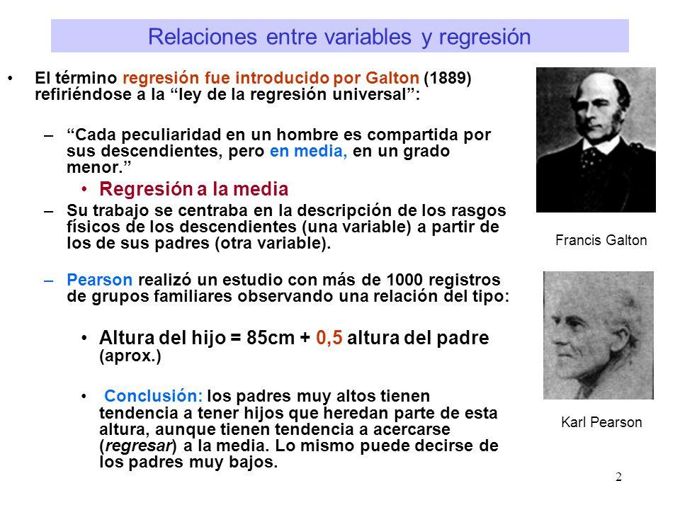 2 Relaciones entre variables y regresión El término regresión fue introducido por Galton (1889) refiriéndose a la ley de la regresión universal: –Cada