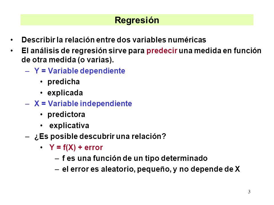 3 Regresión Describir la relación entre dos variables numéricas El análisis de regresión sirve para predecir una medida en función de otra medida (o v
