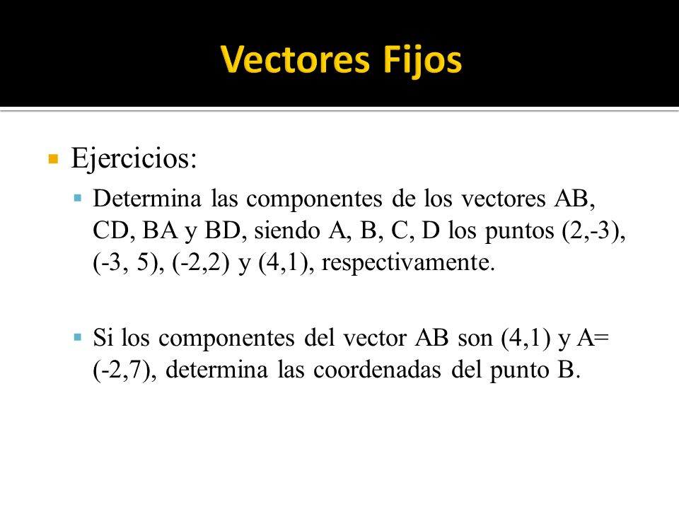 Ejercicios: Determina las componentes de los vectores AB, CD, BA y BD, siendo A, B, C, D los puntos (2,-3), (-3, 5), (-2,2) y (4,1), respectivamente.
