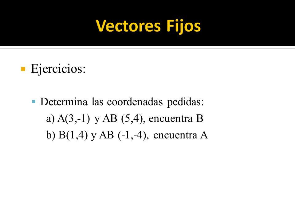 Ejercicios: Determina las coordenadas pedidas: a) A(3,-1) y AB (5,4), encuentra B b) B(1,4) y AB (-1,-4), encuentra A