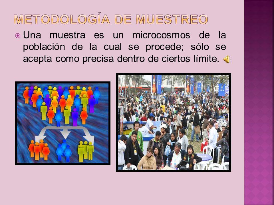 Una muestra es un microcosmos de la población de la cual se procede; sólo se acepta como precisa dentro de ciertos límite.