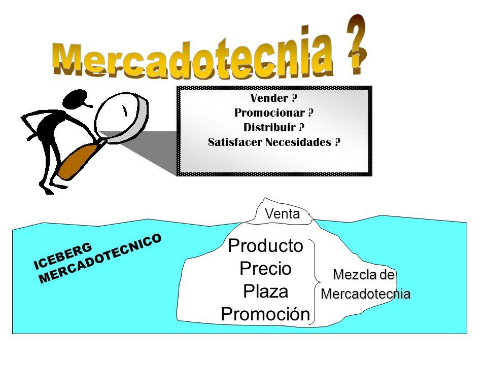 Vender ? Promocionar ? Distribuir ? Satisfacer Necesidades ? Producto Precio Plaza Promoción Venta ICEBERG MERCADOTECNICO Mezcla de Mercadotecnia