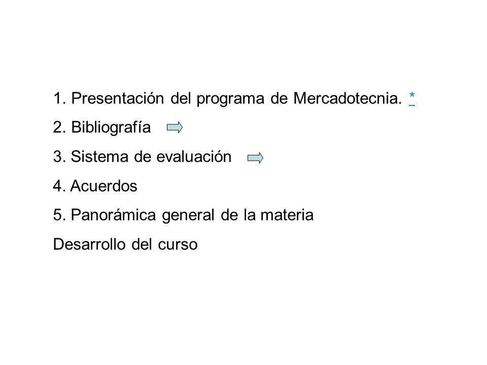 1.Presentación del programa de Mercadotecnia. ** 2.Bibliografía 3. Sistema de evaluación 4. Acuerdos 5. Panorámica general de la materia Desarrollo de
