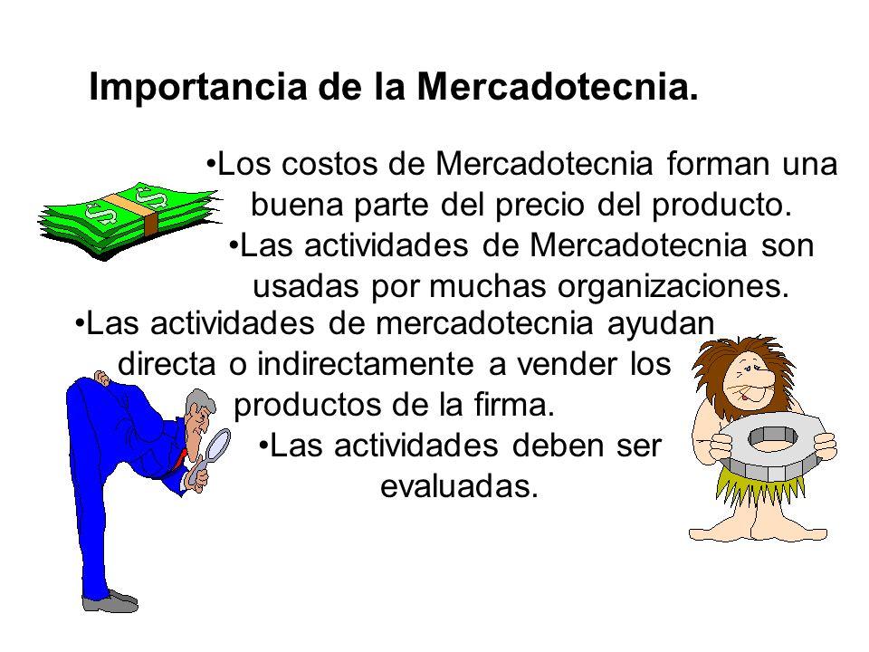 Importancia de la Mercadotecnia. Los costos de Mercadotecnia forman una buena parte del precio del producto. Las actividades de Mercadotecnia son usad