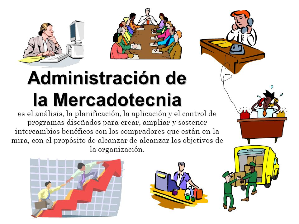 Administración de la Mercadotecnia es el análisis, la planificación, la aplicación y el control de programas diseñados para crear, ampliar y sostener