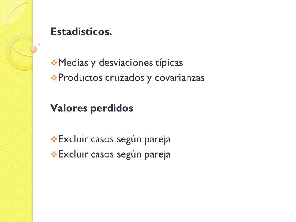 Estadísticos. Medias y desviaciones típicas Productos cruzados y covarianzas Valores perdidos Excluir casos según pareja