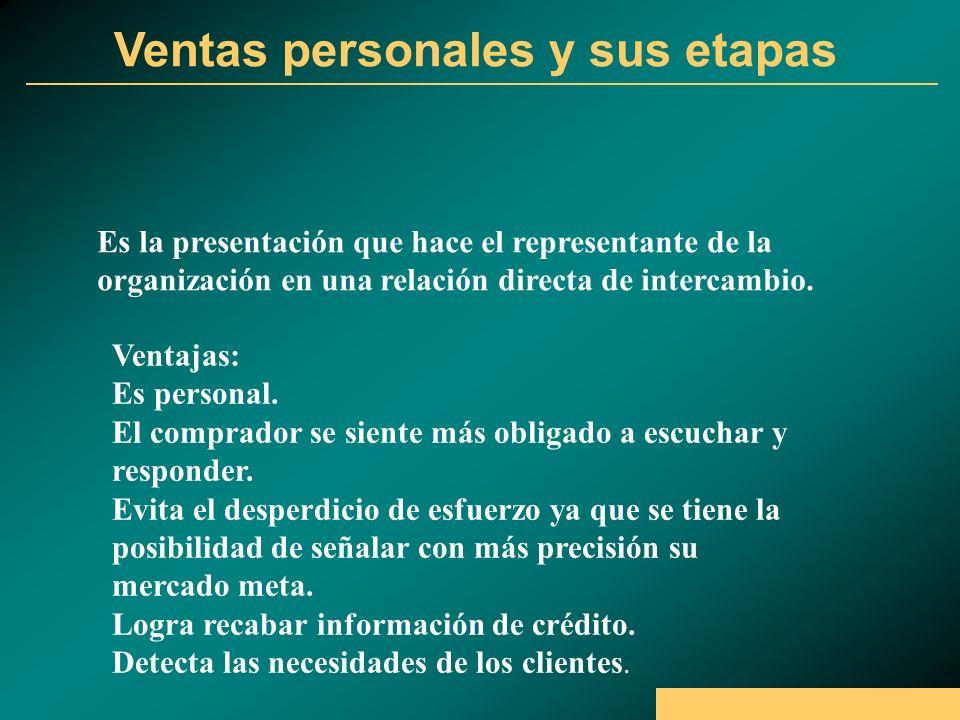 Ventas personales y sus etapas Es la presentación que hace el representante de la organización en una relación directa de intercambio.