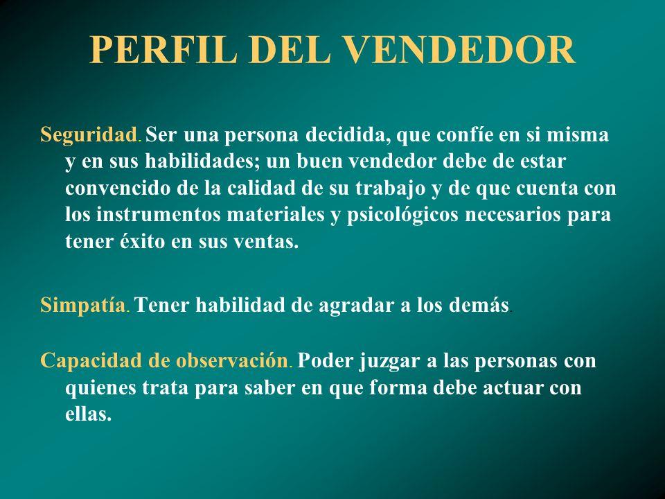 PERFIL DEL VENDEDOR Seguridad.