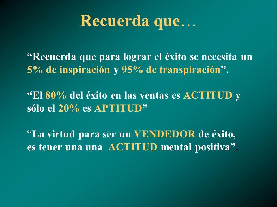 Recuerda que… Recuerda que para lograr el éxito se necesita un 5% de inspiración y 95% de transpiración.