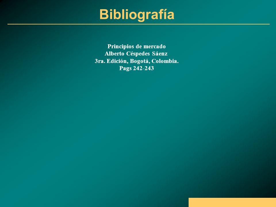 Bibliografía Principios de mercado Alberto Céspedes Sáenz 3ra.