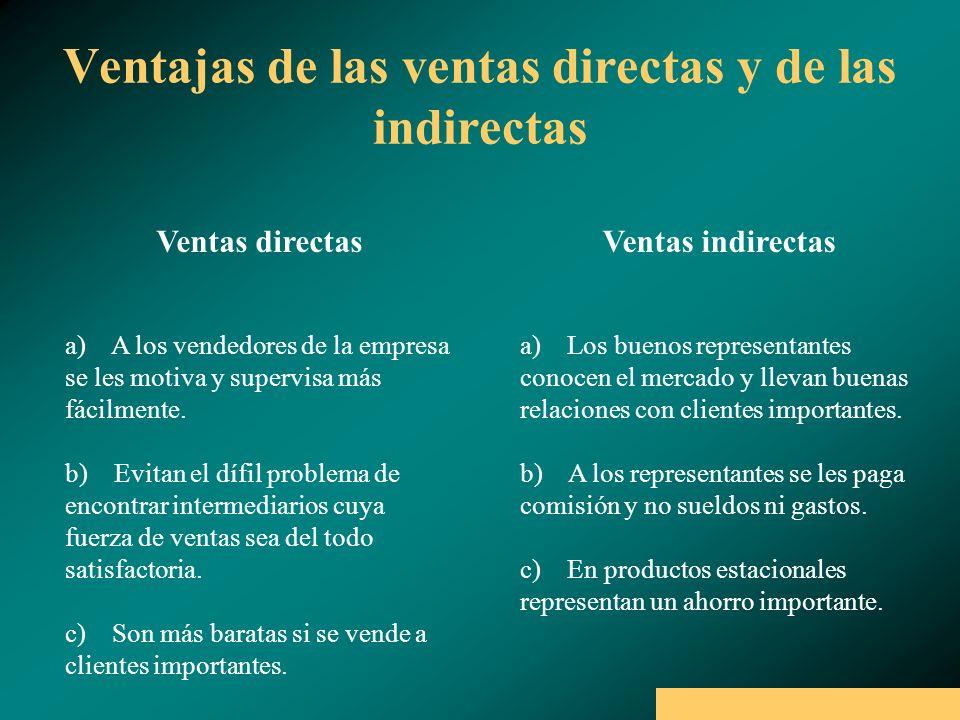 Ventajas de las ventas directas y de las indirectas Ventas directas Ventas indirectas a) A los vendedores de la empresa se les motiva y supervisa más fácilmente.