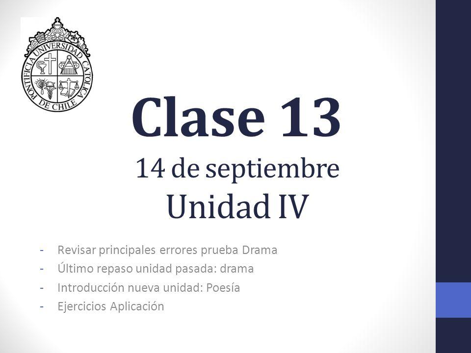 Clase 13 14 de septiembre Unidad IV -Revisar principales errores prueba Drama -Último repaso unidad pasada: drama -Introducción nueva unidad: Poesía -