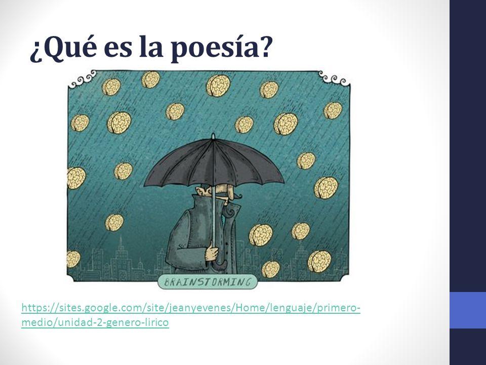 ¿Qué es la poesía? https://sites.google.com/site/jeanyevenes/Home/lenguaje/primero- medio/unidad-2-genero-lirico
