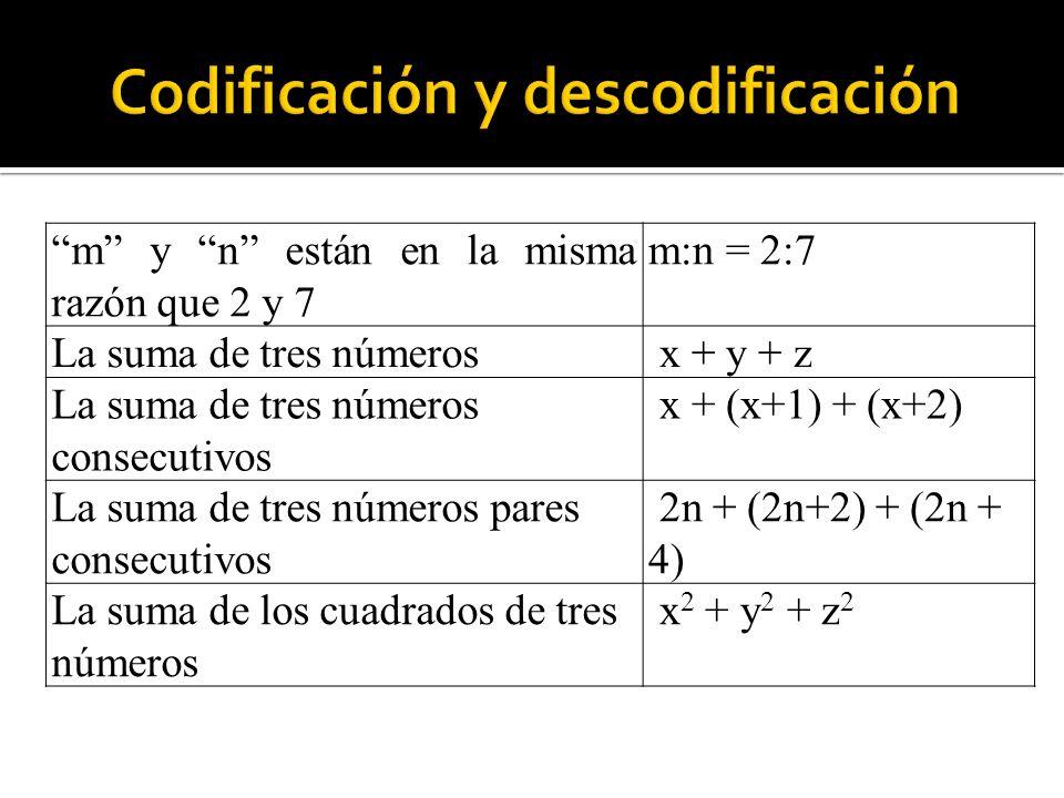 m y n están en la misma razón que 2 y 7 m:n = 2:7 La suma de tres números x + y + z La suma de tres números consecutivos x + (x+1) + (x+2) La suma de