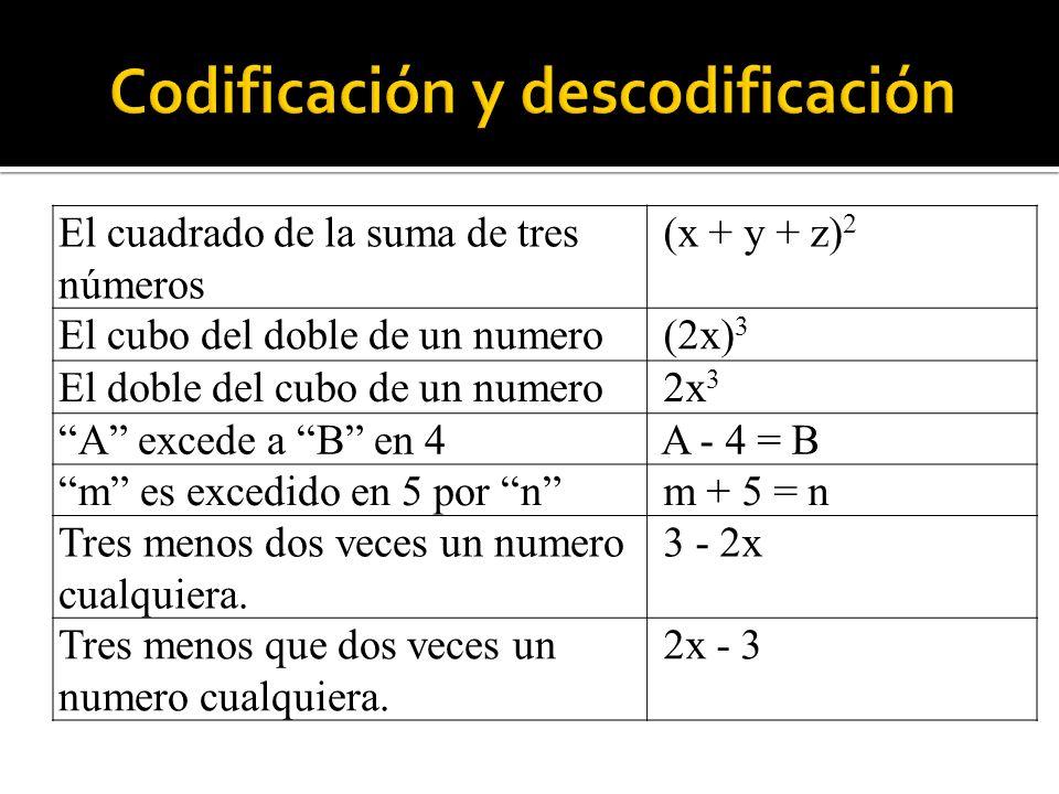 El cuadrado de la suma de tres números (x + y + z) 2 El cubo del doble de un numero (2x) 3 El doble del cubo de un numero 2x 3 A excede a B en 4 A - 4