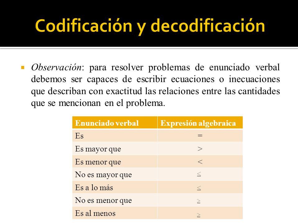 Observación: para resolver problemas de enunciado verbal debemos ser capaces de escribir ecuaciones o inecuaciones que describan con exactitud las rel